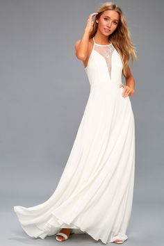 The Adella White Lace Sleeveless Maxi Dress is a showstopper! Lovely sheer lace and woven poly sleeveless maxi dress. Wedding Dresses Under 100, Inexpensive Wedding Dresses, Stunning Wedding Dresses, Lace Dress, Dress Up, White Dress, Lace Maxi, Long Midi Dress, Midi Dresses