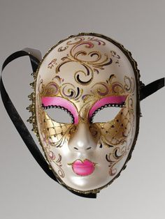 Venetian Carnival Masks: Volto - Pink and Gold