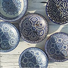 Indigo and white bowls