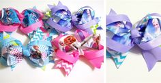 """4"""" Frozen inspired Hair Bows.Each bow has layers of ribbon in a frozen theme with a hair clip on the back."""