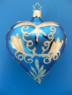 INGE-GLAS-ELECTRIC-BLUE-SILVER-GLASS-HEART-GERMAN-CHRISTMAS-VALENTINE-039-S-ORNAMENT
