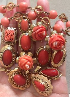 antique vintage coral rings pendant bracelet coral jewelry all in gold