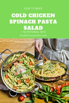 Looking for some Chicken Salad Recipe, Healthy Vegan Food, Pasta Recipes ? I've got a collection here of the best Cold Chicken Spinach Pasta Salad - Vegetarian Pasta Salad, Pasta Salad With Spinach, Easy Pasta Salad, Chicken Artichoke Pasta, Spinach Artichoke Chicken, Spinach Stuffed Chicken, Low Calorie Pasta Sauce, Big Mac Salat, Roasted Garlic Dressing