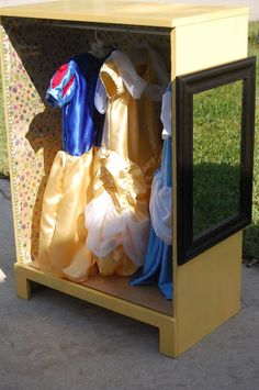 DIY upcycle repurpose small dresser into child's dress up wardrobe
