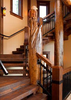 Kogan Builders's Design Colorado Mountain Home Tree, newel post, or eye on the world?