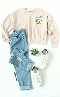 Teen fashion outfits - Pink Drop Shoulder Embroidered Sweatshirt with blue ripped denim pants and white sneakers rowme com Teenage Outfits, Teen Fashion Outfits, Cute Fashion, Outfits For Teens, Trendy Outfits, Fall Outfits, Summer Outfits, School Outfits, 90s Fashion