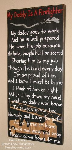 Firefighter Kids, Firefighter Nursery, Firefighter Decor, Firefighter Wall Art, Custom Wood Sign - My Daddy Is A Firefighter on Etsy, $80.00. Check out that cool T-Shirt here: https://www.sunfrog.com/I-love-my-firefighter-Black-Ladies.html?53507