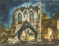 John Piper (L406), Kirkham Priory Gateway (N. Yorkshire. N. England),1988, etching (edition of 100 aside from 19 proofs), 400 x 520 mm.