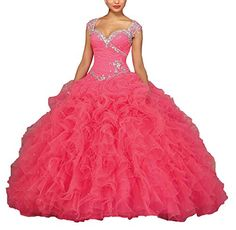 Elley Womens Sweetheart Sleeveless Formal Sweet 16 Prom Ball Gown Sweep Train 2017 Long Quinceanera Dress Pink US8 >>> Check this awesome product by going to the link at the image.