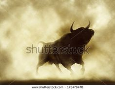 Illustration of an angry bull silhouette in a smoky or dusty atmosphere - stock photo