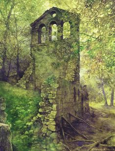 Green watercolor art print - watercolor ruins art - green forest watercolor - romantic landscape painting - old architecture print - trees Green watercolor painting of romantic ruins in the forest by Katarzyna Kmiecik (Poland) - Green Watercolor, Watercolor Trees, Watercolor Paintings, Watercolour, Watercolor Architecture, Architecture Old, Forest Art, Forest Painting, Architectural Prints