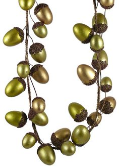 green + gold acorn garland