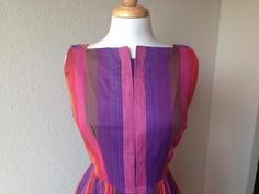 Round She Goes - Market Place - 50's Striped day dress, size 12/14
