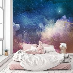 Removable Wallpaper Mural Peel & Stick Watercolor Universe Filled with Stars and Moon