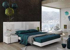 Modern Garcia Sabate Pixel Bed in High Gloss White and Matt White Opt Bedside Cabinets