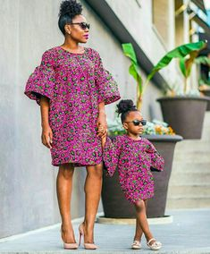 Items similar to African Print Mother Daughter Set Midi Dress - Ankara - Ankara Print - African Dress - Handmade - Africa Clothing - African Fashion on Etsy - Women's style: Patterns of sustainability Ankara Styles For Kids, African Dresses For Kids, African Children, African Print Dresses, African Fashion Dresses, African Attire, African Wear, Ankara Fashion, African Print Clothing