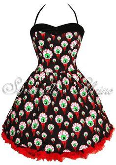 Hell Bunny Dress Halloween Gore Eyeball Party Goth Size 8-18 #HellBunny #Halter #Clubwear