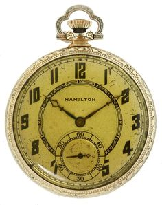 John Dillinger's 17 jewel gold-filled Hamilton pocket watch, found on his person the day of his death, ca. July 22, 1934