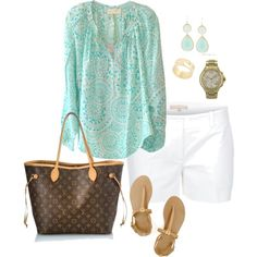 Turquoise Tunic, Button Fastening Shorts, and Double Drop Earrings.