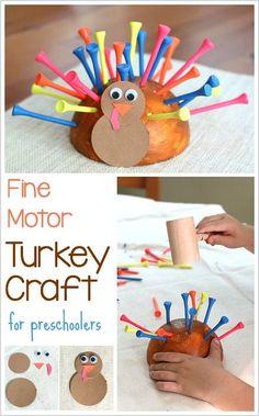 Thanksgiving Crafts for Preschoolers: Fine Motor Turkey Craft Using Golf Tees ~ BugyandBuddy.com