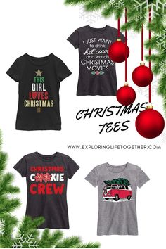 8655b4280 CHRISTMAS TEES - THIS GIRL LOVES CHRISTMAS - I JUST WANNA HAVE HOT COCOA  AND WATCH