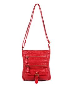 This Red Buckle-Pocket Charlotte Crossbody Bag is perfect! #zulilyfinds