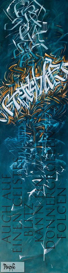 """""""Geistesblitz"""" """"Auch auf einen Geistesblitz kann ein Donnergrollen folgen."""" Acryl auf Leinwand, 40 x 160 cm, Preis auf Anfrage"""