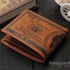 Men PU Leather Bifold Wallet Purse US Dollar Style Card Holder - US$8.15