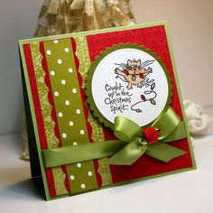 Christmas Card  Handmade Greeting Card Caught Up by