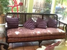 Cane back sofa, wood frame Wood Sofa, Wicker Sofa, Cane Sofa, Oak Trim, Diy Couch, Porch Swing, Furniture Makeover, Vintage Decor, Upholstery