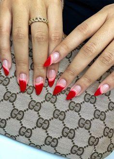Nail Design Stiletto, Nail Design Glitter, Bright Red Nails, Funky Nails, Stylish Nails, Trendy Nails, Nail Art Cute, Red Nail Art, Valentine's Day Nail Designs