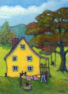 'Trouble on Laundry Day' by Kathe Soave, ACEO cat art card | Washer Odor? | Sour Smelling Towels? | Stinky Clean Laundry? | http://WasherFan.com | Permanently Eliminate or Prevent Washer & Laundry Odor with Washer Fan™ Breeze™ | #Laundry #WasherOdor