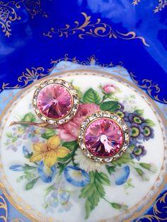Vintage Rivoli Cut Pink Genstone Estate Pierced Earrings Over Gold Tone Metal - Looks Like New on Etsy, $17.00