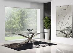 Mesa com tampo de vidro e com pé de inox Table with glass top and stainless foot www.intense-mobiliario.com  MIAMI