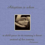 Adoption is when a child grows in its mommy's heart instead of her tummy