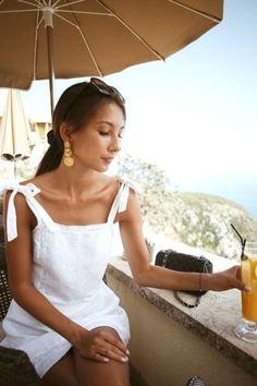 5f89769966 White linen sundress Outfit Summer