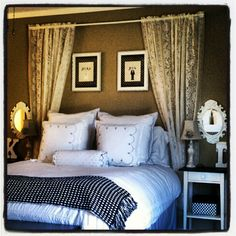 This! I am making this for my room! I love the curtain idea rod and curtains and frames for the headboard!