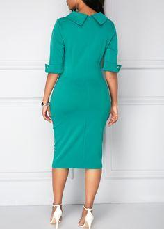 Zipper Back Half Sleeve Green Dress Half Sleeve Dresses, Half Sleeves, African Wear, African Dress, Office Dresses For Women, Clothes For Women, Official Dresses, Mode Vintage, African Fashion Dresses