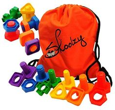 Jumbo Nuts and Bolts Set with Backpack by Skoolzy - 24 pc SKM