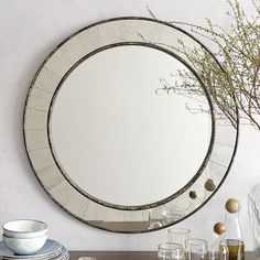 "$249 ~ 30"" Diameter ~ Antique Tiled Round Mirror 