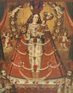 Global Gallery Our Lady of the Rosary Painting Print on Wrapped Canvas Pintura Colonial, Colonial Art, Spanish Colonial, Catholic Art, Religious Art, Madonna, Religion Catolica, Holy Rosary, Saints