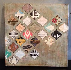 I used old magazine pages and scrap book paper cut into my favorite Moroccan design to create this beautiful accent piece. Its a 12x12inch canvas which