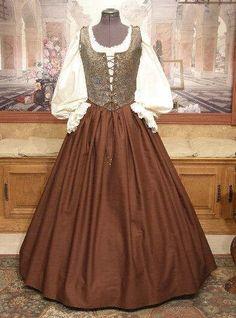 Renaissance MAIDEN WENCH DRESS Bodice Skirt Corset by fairefinery
