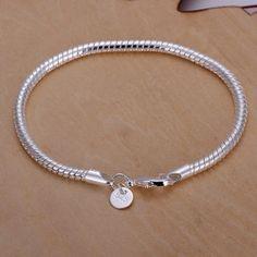 4MM Snake Bone Design Women's 925 Silver Plated Bracelet