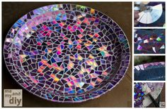 DIY Mosaic Tile Birdbath With Recycled DVDs | DIY Tag