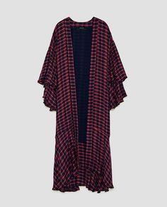 Image 8 of CHECKED KIMONO WITH RUFFLED SLEEVES from Zara