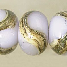 Lampwork Glass Bead Set of 6 11x7mm Silvered Ivory by SpawnOfFlame