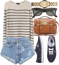 striped sweater, high waisted shorts and Vans authentics