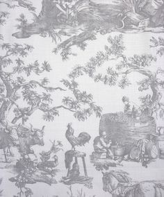 Seasons Toile Fabric A classic printed toile fabric featuring traditional farming with a countryside theme in french grey.