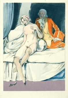 BRUNELLESCHI, U. La Lecon d'Amour Dans un Parc. An original hand-coloured pochoir for 'La Lecon d'Amour Dans un Parc' by Rene Bolesve. Limited edition of 450. Paris c.1920.